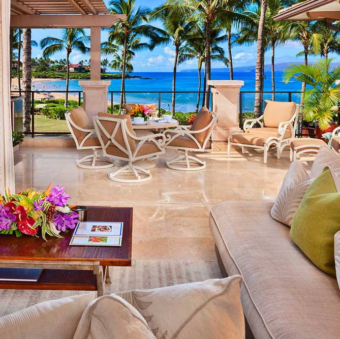 Lanai overlooking beach in West Maui